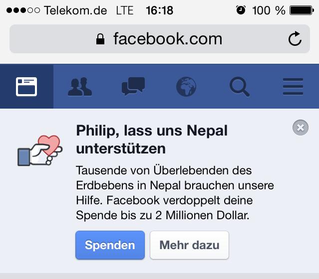 Mit »Taten, statt Worten lieben«? Das Internet macht's leichter: Spenden zugunsten der Erdbebenopfer in Nepal kostet bspw. via Facebook und Paypal nur drei Klicks Eurer Zeit und einen Euro-Betrag Eurer Wahl.